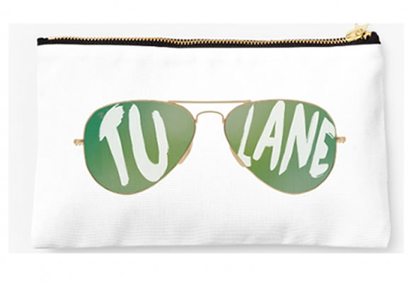 Tulane University Green Waves Zippered Pouch, Sunglasses Design