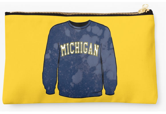 University of Michigan Wolverines Zippered Pouch, Sweatshirt Design