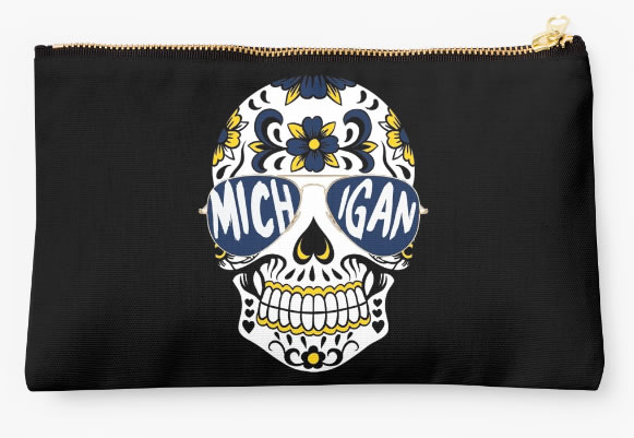University of Michigan Wolverines Zippered Pouch, Skull Design