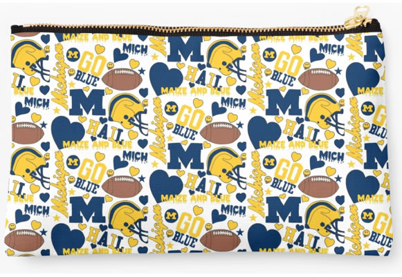 University of Michigan Wolverines Zippered Pouch, School Spirit Pattern
