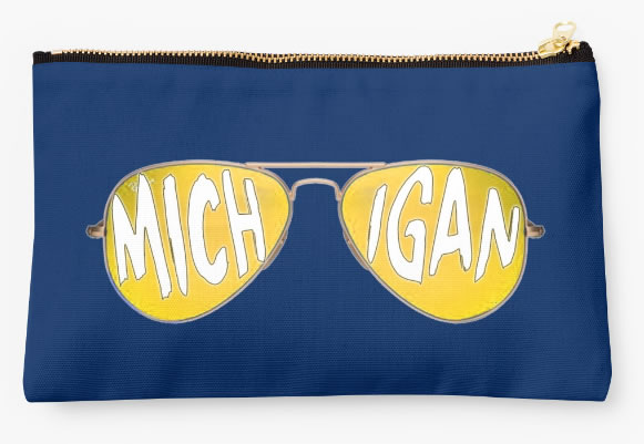 University of Michigan Wolverines Zippered Pouch, Sunglasses Design