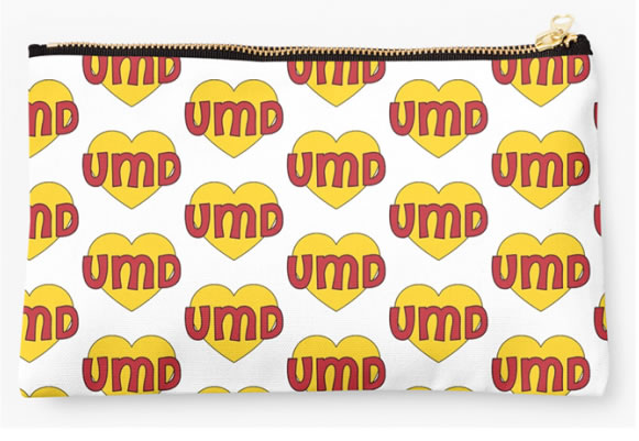 University of Maryland Terrapins Zippered Pouch, Heart Pattern
