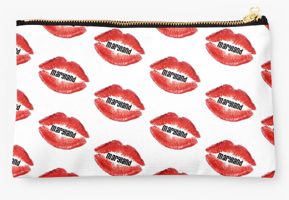 University of Maryland Terrapins Zippered Pouch, Lips Design