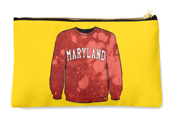 University of Maryland Terrapins Zippered Pouch, Sweatshirt Design