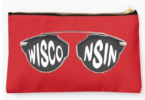 University of Wisconsin Badgers Zippered Pouch, Initials Design