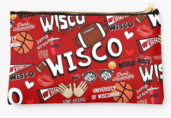 University of Wisconsin Badgers Zippered Pouch, School Spirit Design