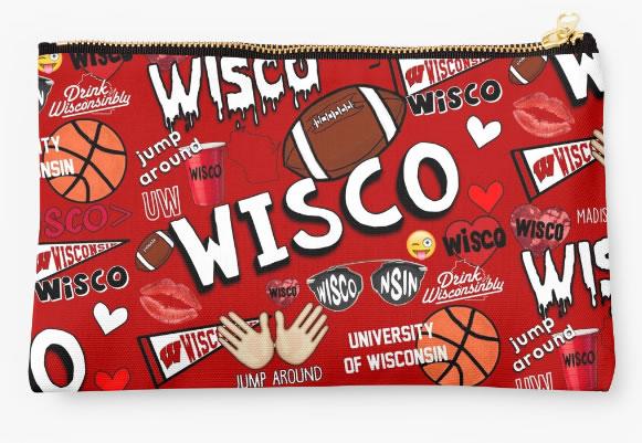 University of Wisconsin Badgers Zippered Pouch, School Spirit Design