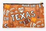 University of Texas Longhorns Zippered Pouch, School Spirit Design