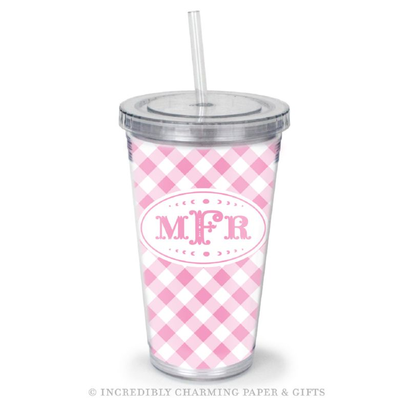 Beverage Tumbler with Straw, Personalized, Gingham Pink