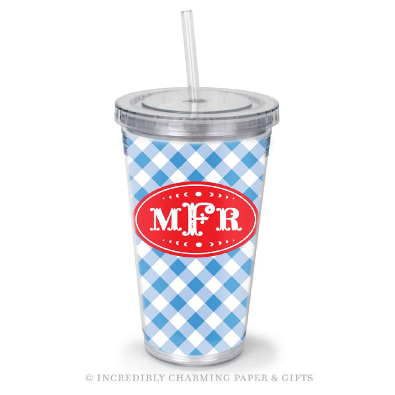 Beverage Tumbler with Straw, Personalized, Gingham Blue