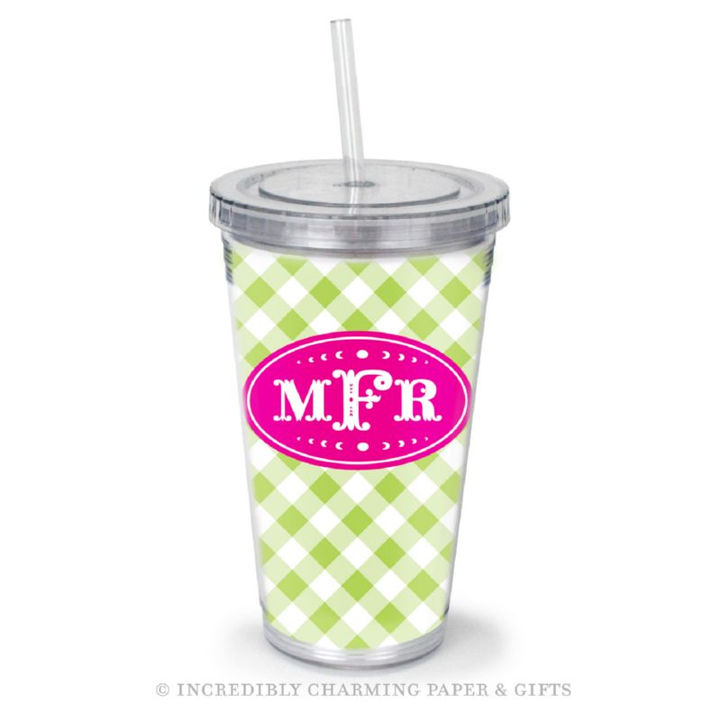 Beverage Tumbler with Straw, Personalized, Gingham Lime