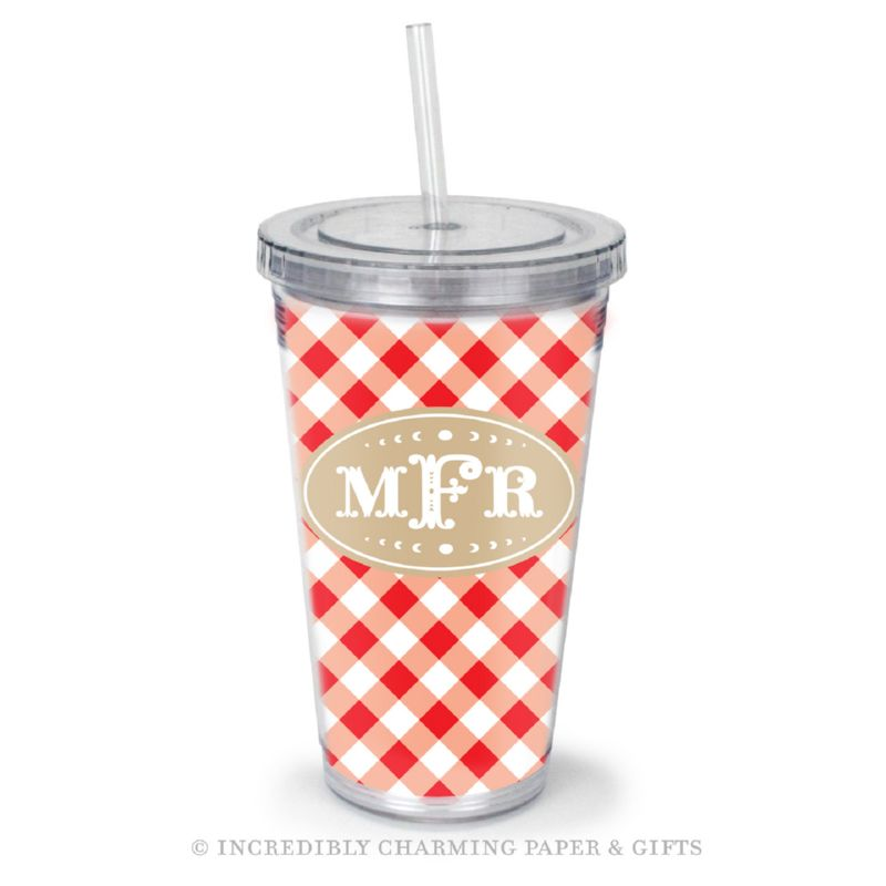 Beverage Tumbler with Straw, Personalized, Gingham Red