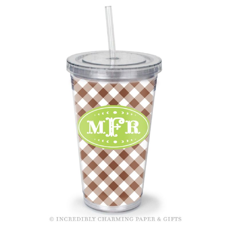 Beverage Tumbler with Straw, Personalized, Gingham Brown