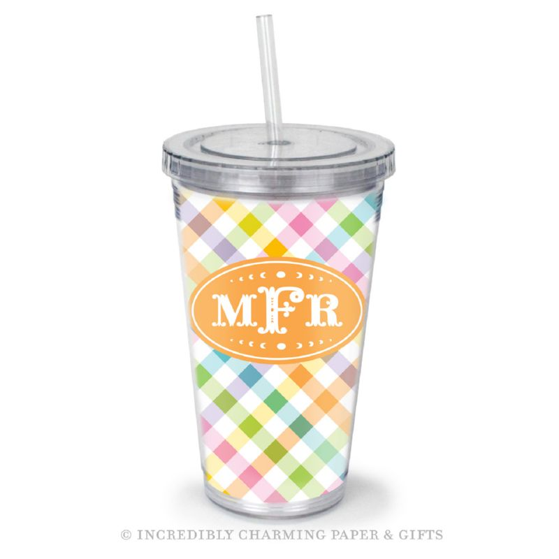 Beverage Tumbler with Straw, Personalized, Gingham Multi