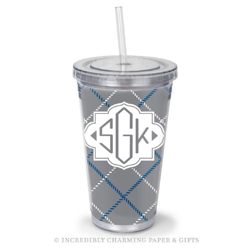 Beverage Tumbler with Straw, Personalized, Plaid Grey