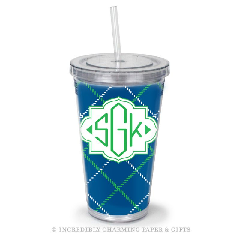 Beverage Tumbler with Straw, Personalized, Plaid Blue