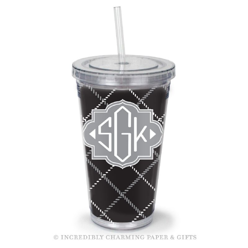 Beverage Tumbler with Straw, Personalized, Plaid Black