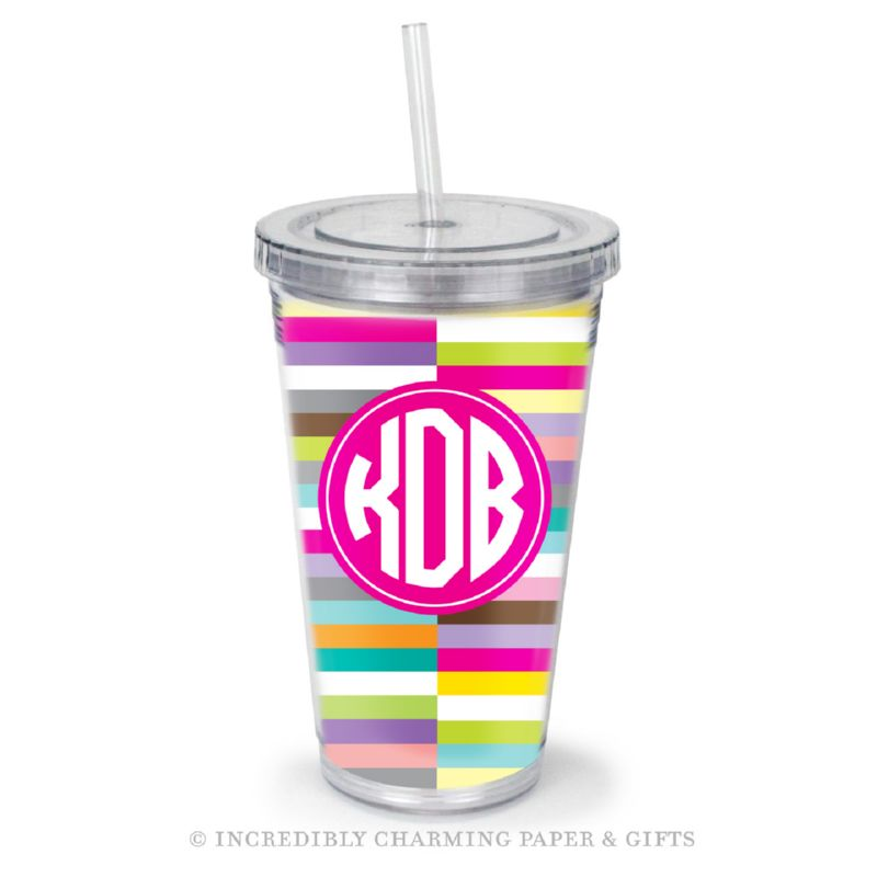 Beverage Tumbler with Straw, Personalized, Remix Sunrise