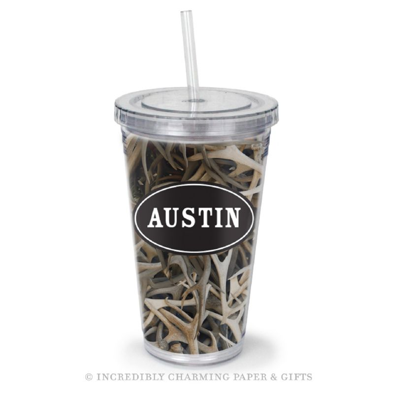 Beverage Tumbler with Straw, Personalized, Antlers