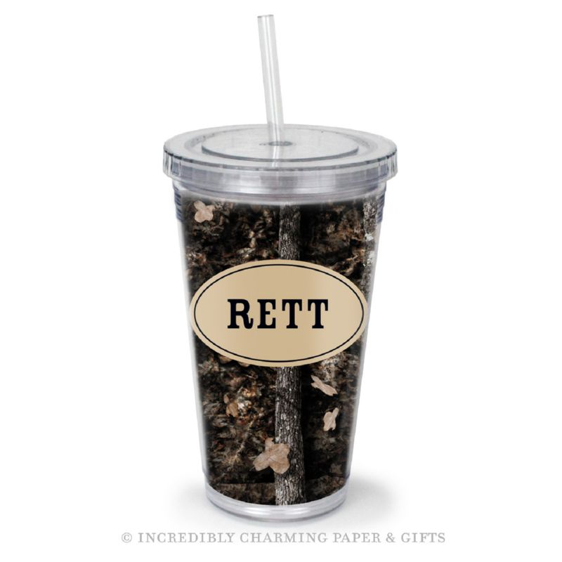 Beverage Tumbler with Straw, Personalized, Shady Oak