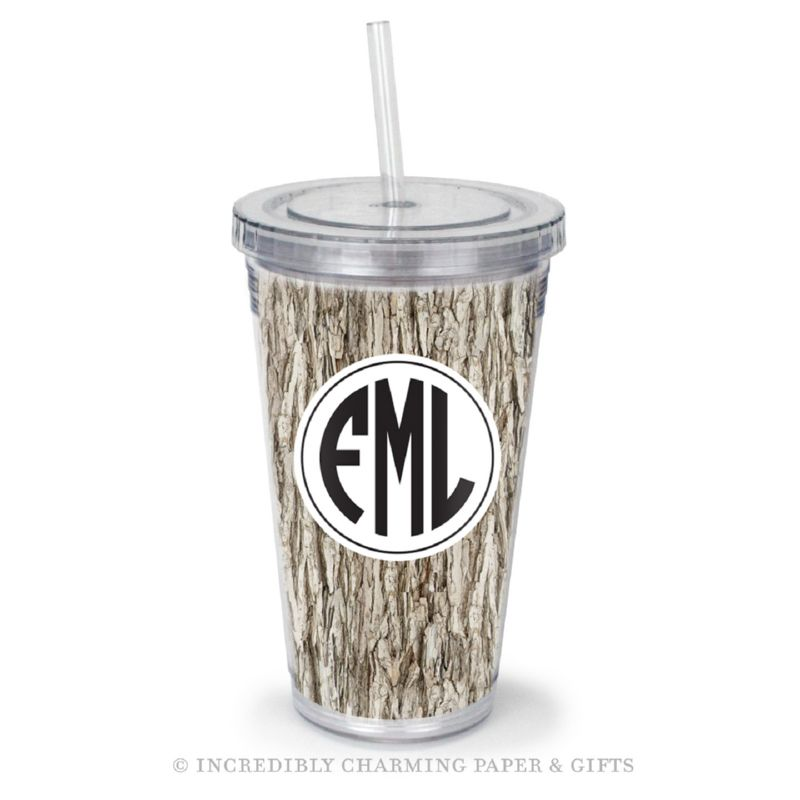 Beverage Tumbler with Straw, Personalized, Tree Bark