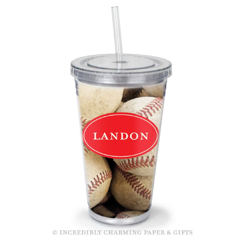 Beverage Tumbler with Straw, Personalized, Baseballs