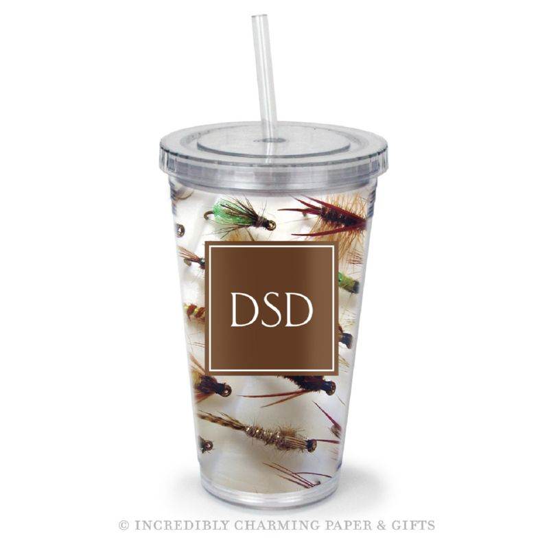 Beverage Tumbler with Straw, Personalized, Flies