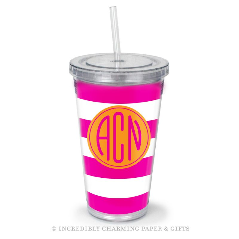 Beverage Tumbler with Straw, Personalized, Cabana Pink