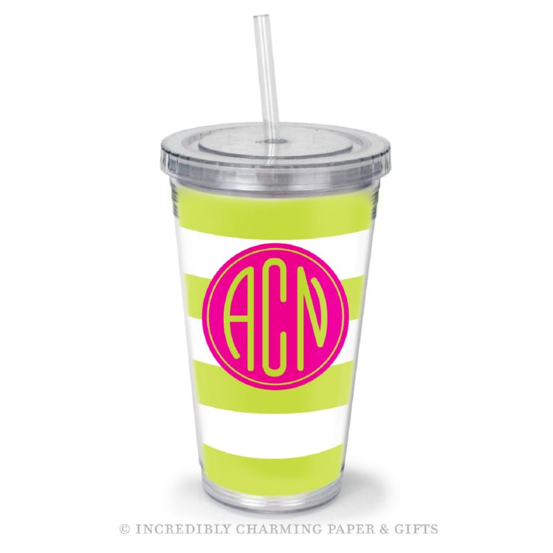 Beverage Tumbler with Straw, Personalized, Cabana Lime