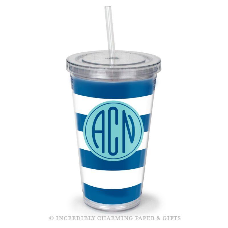Beverage Tumbler with Straw, Personalized, Cabana Indigo