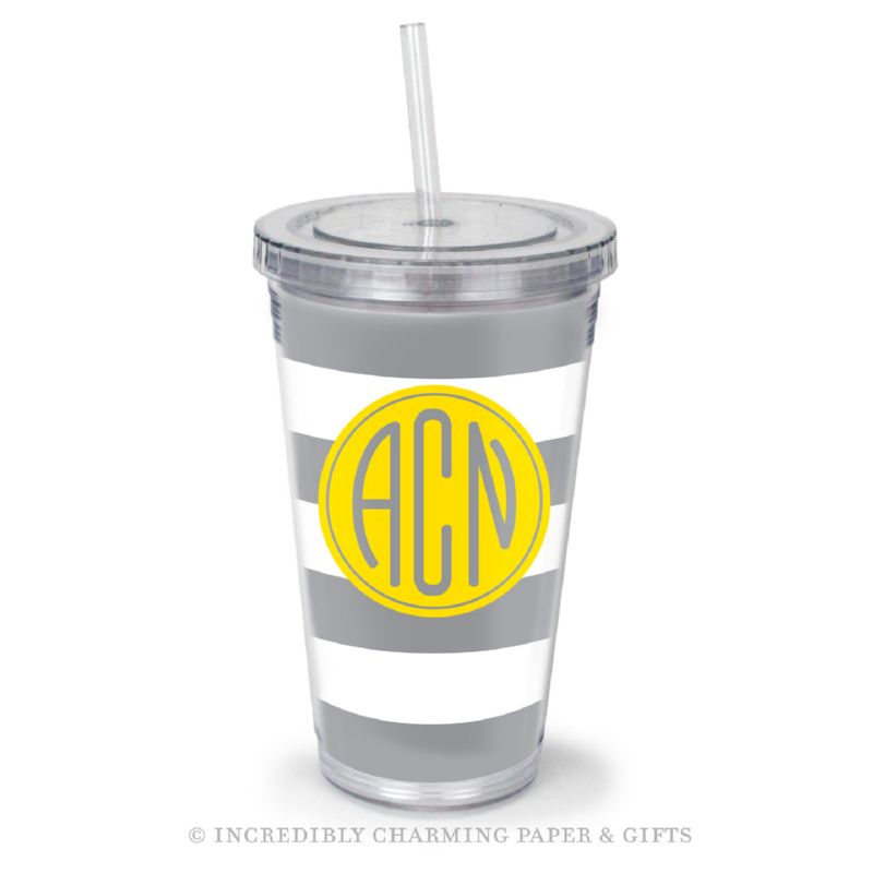 Beverage Tumbler with Straw, Personalized, Cabana Steel
