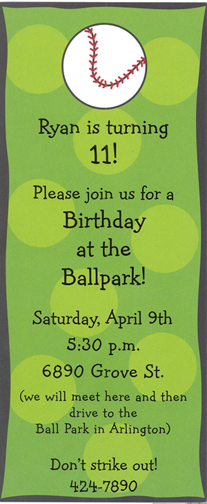 Baseball Tall Invitation (ONLY 12 cards available)