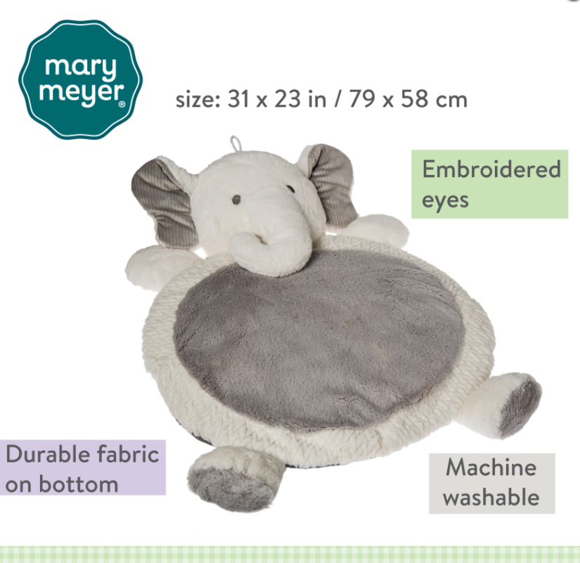 Plush elephant play mat for baby in grey