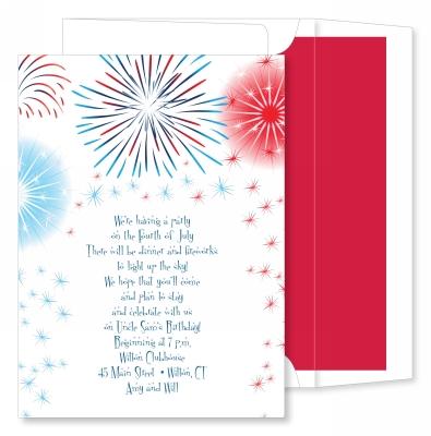 Fireworks on White Invitation