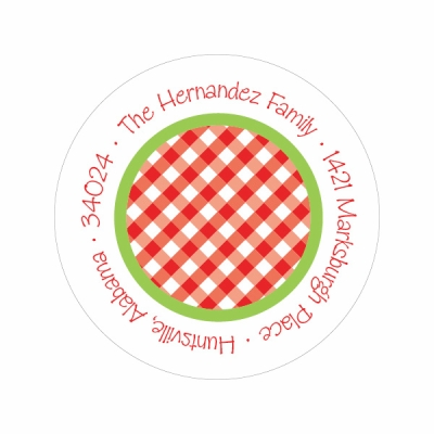 Gingham Dots Red & Green Label