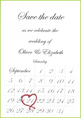 Save the Date with red glitter
