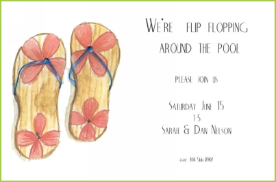 Flip Flops with blue straps invitation by Stevie Streck