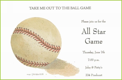 Baseball with sand invitation by Stevie Streck