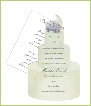 Wedding Cake with ribbon tag/three pearls