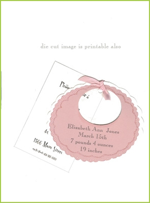Pink Bib with pink ribbon tag with clear glitter