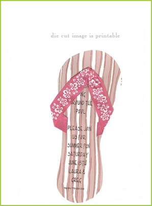Pink Flip Flops with floral ribbon strap invitation by Stevie Streck
