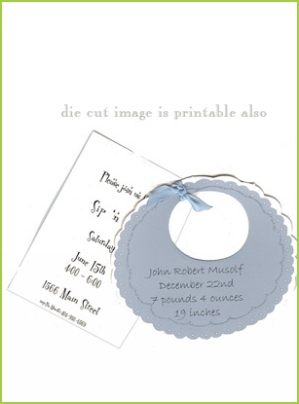 Blue Bib with blue ribbon tag with clear glitter
