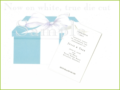 Blue Gift Box with antique white ribbon tag