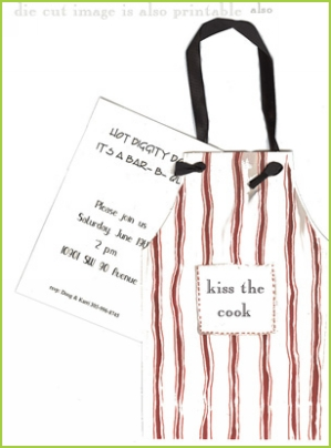 Red and White Apron with black ribbon tag