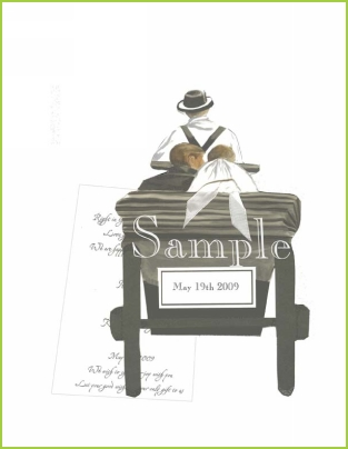 Marriage Carriage with antique white ribbon tag