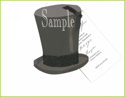 Black Top Hat with ribbon tag with glitter