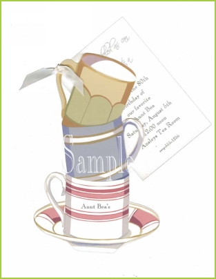 Stacked Cups with antique white ribbon tag