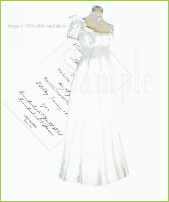 Elegant Gown w/white ribbon tag w/pearl invitation by Stevie Streck