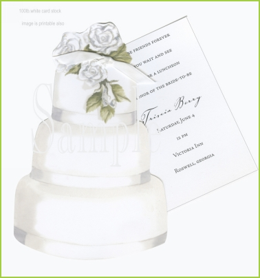 Wedding Cake w/roses w/white ribbon tag w/glitter