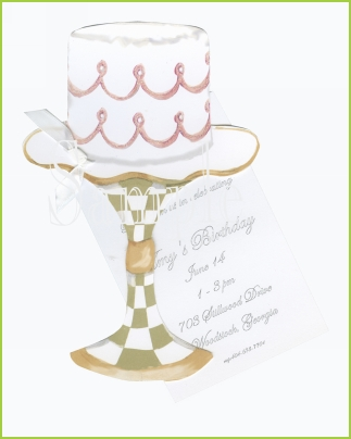 Cake on a Plate Stand w/white ribbon tag w/glitter